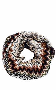 Chevron Multicolored Zigzag Knitted Loop Scarf Available in Many Colors (Brown)