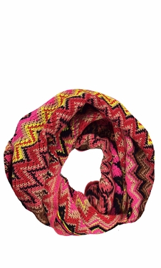 Chevron Multicolored Zigzag Knitted Loop Scarf Available in Many Colors (Pink)