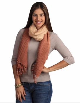Multicolored Faded Ombr� Faded Cotton Tie Dye Scarf (Brown/Tan)