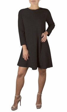 Chic Fashion 3/4 Sleeve Scoop Neck T-Shirt Dress Black