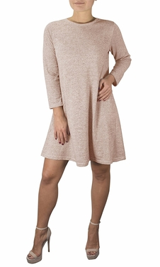 Chic Fashion 3/4 Sleeve Scoop Neck T-Shirt Dress Blush