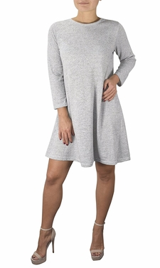Chic Fashion 3/4 Sleeve Scoop Neck T-Shirt Dress Grey