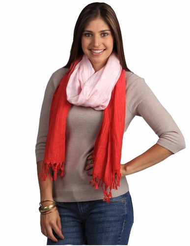 Multicolored Faded Ombré Faded Cotton Tie Dye Scarf (Red/Baby Pink)