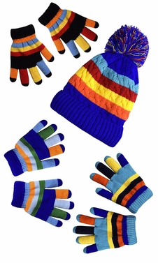 Children�s Toddler Warm Winter Gloves and Mittens Value packs (One Size, Rainbow Blue Set Little Kids (4 to 8 Years))