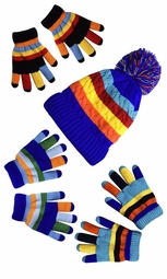Children's Toddler Warm Winter Gloves and Mittens Value packs (One Size, Rainbow Blue Set Toddlers (2 to 4 Years))
