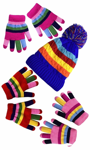 Children's Toddler Warm Winter Gloves and Mittens Value packs (One Size, Rainbow Pink Set Little Kids (4 to 8 Years))