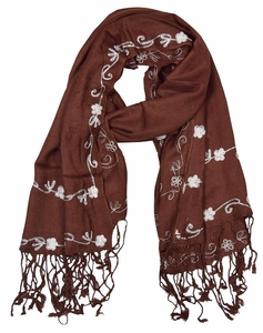 Vintage Floral Hand Embroidered Pashmina Shawl Scarf (Chocolate Brown)