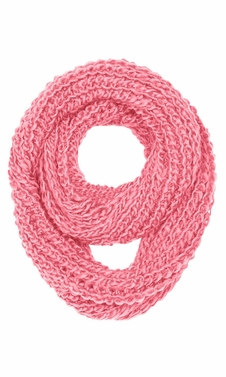 Hand Made Thick Chunky Knit Infinity loop Scarves in Warm Colors (Rose Pink)
