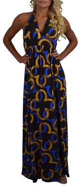 Circle Print Halter Maxi Dress (Mustard & Blue, Small)