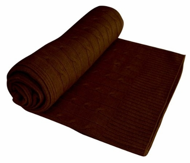 Classic Cable Knit 100% Cashmere Throw (Brown)
