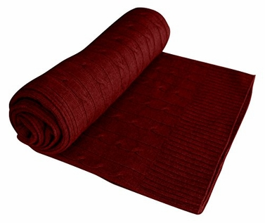 Classic Cable Knit 100% Cashmere Throw (Maroon)