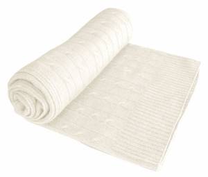 Classic Cable Knit 100% Cashmere Throw (Off White)