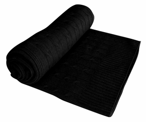 Classic Cable Knit 100% Cashmere Throw (Black)