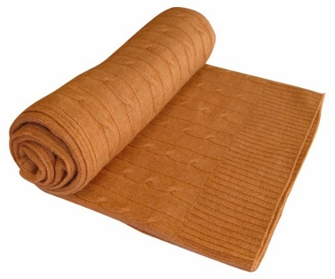 Classic Cable Knit 100% Cashmere Throw (Tan)