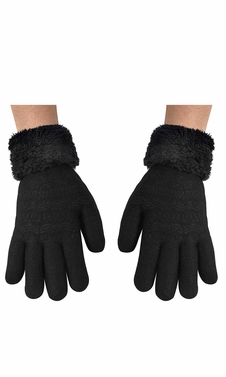 Classic Cable Knit Plush Fleece Lined Double Layer Winter Gloves (One Size, Black 05)
