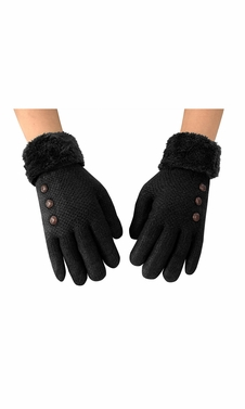 Womens Classic Cable Knit Plush Fleece Lined Double Layer Winter Gloves