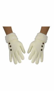 Classic Cable Knit Plush Fleece Lined Double Layer Winter Gloves (One Size, Cream 06)