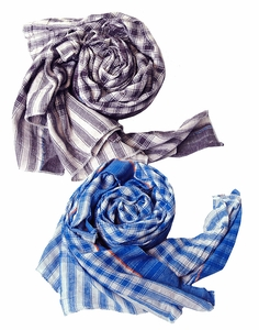 Classic Cotton Checkered Purple Plaid Scarf 2 Pack Scarf Set (Maroon/Blue)