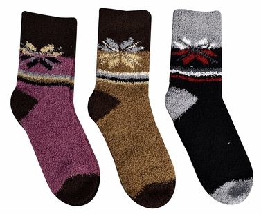 Classic Fuzzy Socks Christmas Holiday Packs of 3 (Black Brown Pink)