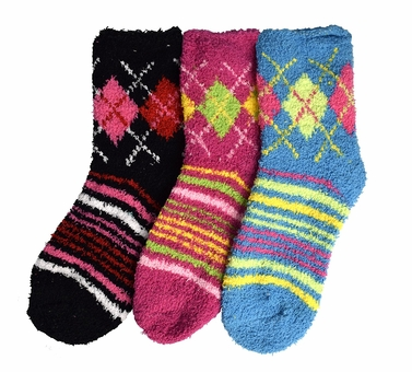 Classic Fuzzy Socks Christmas Holiday Packs of 3 (Blue Fuchsia Black)