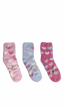 Classic Fuzzy Socks Christmas Holiday Packs of 3 (Blue Fuchsia Light Pink)
