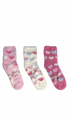 Classic Fuzzy Socks Christmas Holiday Packs of 3 (Fuchsia White Light Pink)