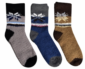 Classic Fuzzy Socks Christmas Holiday Packs of 3 (Grey Blue Brown)