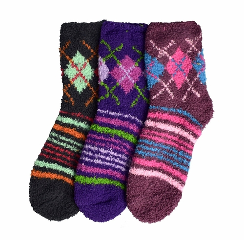 Classic Fuzzy Socks Christmas Holiday Packs of 3 (Grey Mauve Purple)