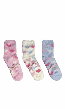 Classic Fuzzy Socks Christmas Holiday Packs of 3 (Light Pink White Blue)