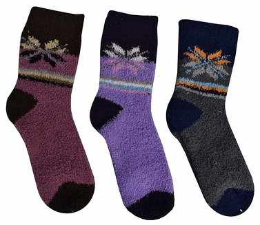 Classic Fuzzy Socks Christmas Holiday Packs of 3 (Pink Purple Charcoal)