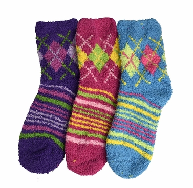 Classic Fuzzy Socks Christmas Holiday Packs of 3 (Purple Fuchsia Blue)