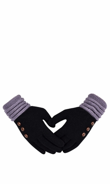 Classic Knit Warm Cozy Two Tone Touch Screen Gloves with Showpiece Buttons Black