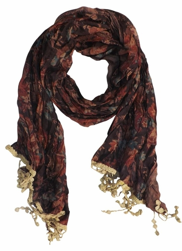Classic Paisley Floral Silk Crinkle Scarf with Knotted Tassels (Beige)