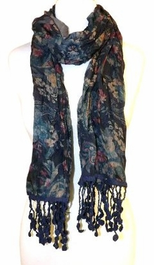 Classic Paisley Floral Silk Crinkle Scarf with Knotted Tassels (Blue)