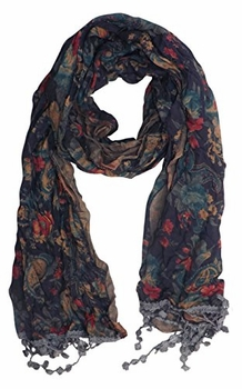 Classic Paisley Floral Silk Crinkle Scarf with Knotted Tassels (Grey)