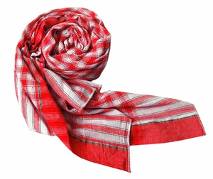 Classic Red Checkered Plaid Scarf