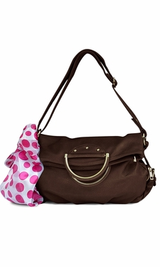 Classic Versatile Large Fold-over Handbag Shoulder Bag Coffee