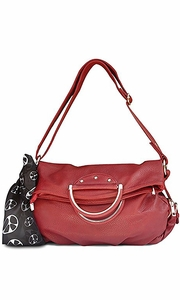 Classic Versatile Large Fold-over Satchel Handbag Shoulder Bag Red