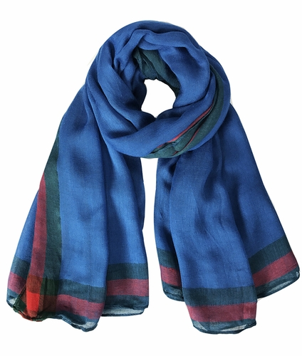 Classic Vintage Designer Red and Green Bordered Boutique Style Scarf (Blue) ! By Invitation Only !