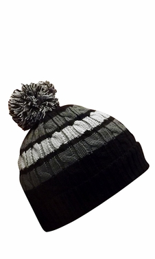 Classic Warm Adorable Kids Striped Cable Knit Winter Pom Pom Hat Black