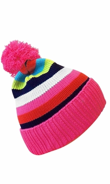 Classic Warm Adorable Kids Striped Cable Knit Winter Pom Pom Hat Pink