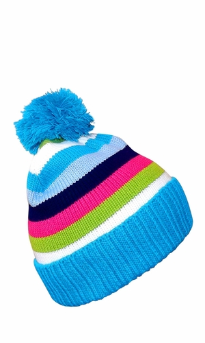 Classic Warm Adorable Kids Striped Cable Knit Winter Pom Pom Hat (Sky Blue)