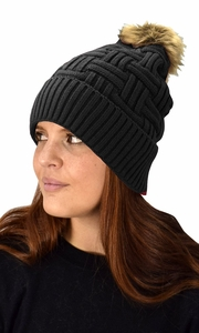 Classic Womens Warm Hand Knit Pom Thick Winter Ski Snowboard Hat Black 10