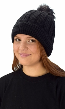 Classic Womens Warm Hand Knit Pom Thick Winter Ski Snowboard Hat Black 18