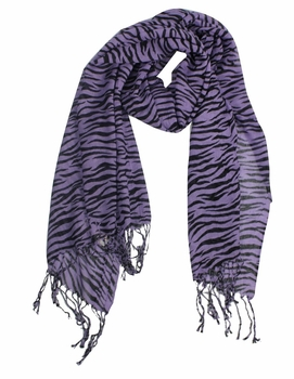 Stylish Striped Zebra Print Scarf (Purple)
