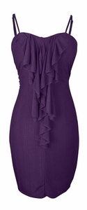 Cocktail Party Ruffled Center Dress (Purple, L)