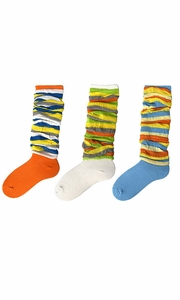 Colorful Striped Slouch Socks 3 Pack (Blue Orange White)