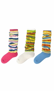 Colorful Striped Slouch Socks 3 Pack (Blue White Fuchsia)