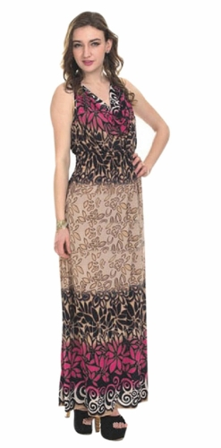 Contrast 2 Tone Tropical Print Cowl Neck Sleeveless Maxi Dress (Fuchsia)