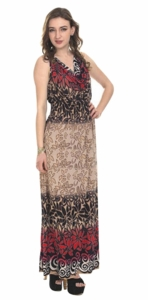 Contrast 2 Tone Tropical Print Cowl Neck Sleeveless Maxi Dress (Red)
